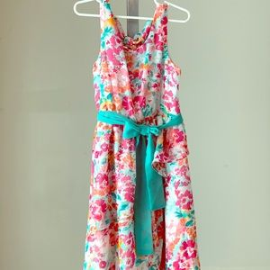 Emily West 7X Pink, Blue, and White Floral Dress